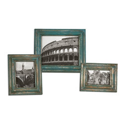 """Uttermost - Uttermost Marlais Bronze Photo Frames Set of 3 18561 - Heavily distressed copper bronze finish with bright slate blue accents. Holds photo sizes: 4""""W x 6""""H, 5""""W x 7""""H, 8""""W x 10""""H. Frame sizes: Small 9""""W x 11""""H, Medium 10""""W x 12""""H, large 13""""W x 15""""H."""