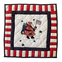 Patch Magic - Colonial Santa Toss Pillow - 16 in. W x 16 in. L. 100% Cotton. Machine washable.. Line or flat dry onlyDecorative applique Quilted Pillow.