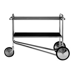 Matrix Internnational - Breuer Cart, Black Laminate - The prototype for Breuer's serving cart first appeared with spoked wheels in the Thonet catalog of 1930-31. The production version with chrome disc wheels was later shown at the Salon des Artistes Decorateurs in 1931. The shelves are available in plastic laminate, lacquer, ash, or cherry with a chrome-plated flat bar steel border. The frame is constructed of chrome-plated tubular steel. The wheels are chrome-plated brass with rubber tires. Right now this is a special order from Italy but soon we will start keeping limited stock for immediate delivery.