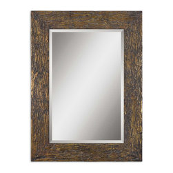 Uttermost - Coaldale Gold-Leafed Bark Veneer Mirror with Beveled Glass, 29x39 - The  Coaldale  bark  veneer  mirror  features  natural  bark  veneer  accented  with  gold  leafing.  The  entire  frame  is  washed  with  a  heavy  gray  glaze  to  give  the  recesses  of  the  bark  additional  texture.  1-1/4  beveled  mirror  and  an  overall  size  of  29x39  make  this  a  terrific  addition  to  an  urban  rustic  decor.