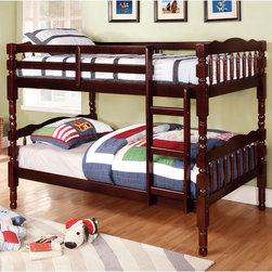 Furniture of America - Furniture of America Loretta Traditional Twin over Twin Bunk Bed - This space-saving piece is crafted from quality wood to ensure long-lasting use. The delicate-looking yet durable design is constructed to last for years while offering plenty of sleeping space.