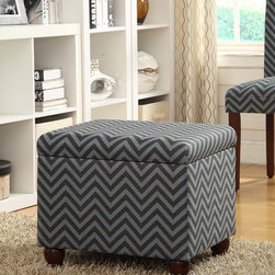 Kinfine - Gray/Glacier Blue Chevron Medium Storage Bench - Add multi-functional style to your home with this gray/glacier blue chevron storage ottoman. This statement piece comes in fun fashion patterns and can be used to store magazines, throws, toys, accessories or anything else that is taking up too much space.