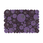 EcoFirstArt - Bubbles  Purple Rug - Think outside the rectangle with this round-edged rug, made up of myriad circular pieces of wool. This multi-leveled, textured rug