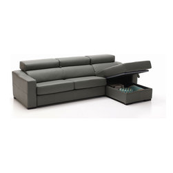 ESF Furniture - Lucas Grey Leather Storage Sectional Sofa with Right Chaise - As functional as plush and comfy, the Lucas Sectional Sofa features adjustable headrests, storage space underneath the chaise section, soft seat cushions and full leather upholstery in Grey finish.
