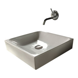 WS bath Collections - Cento 3544 Ceramic Sink - This squared-off sink with a wall-mounted faucet makes a sleek statement in your WC.  Designed by Marc Sadler of Italy, it's an up-to-the-minute modern alternative to a boring basin.