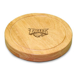 """Picnic Time - Philadelphia Eagles Circo Cheese Board in Natural Wood - The Circo by Picnic Time is so compact and convenient, you'll wonder how you ever got by without it! This 10.2"""" (diameter) x 1.6"""" circular chopping board is made of eco-friendly rubberwood, a hardwood known for its rich grain and durability. The board swivels open to reveal four stainless steel cheese tools with rubberwood handles. The tools include: 1 cheese cleaver (for crumbly cheeses), 1 cheese plane (for semi-hard to hard cheese slices), 1 fork-tipped cheese knife, and 1 hard cheese knife/spreader. The board has over 82 square inches of cutting surface and features recessed moat along the board's edge to catch cheese brine or juice from cut fruit. The Circo makes a thoughtful gift for any cheese connoisseur!; Decoration: Engraved; Includes: 1 cheese cleaver (for crumbly cheeses), 1 cheese plane (for semi-hard to hard cheese slices), 1 fork-tipped cheese knife, and 1 hard cheese knife/spreader"""