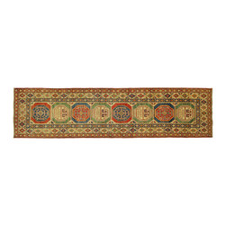 Manhattan Rugs - Super Kazak Colorful Veg Dyed Hand Knotted Runner 3x11 Geometric Wool Rug H5856 - Kazak (Kazakh, Kasak, Gazakh, Qazax). The most used spelling today is Qazax but rug people use Kazak so I generally do as well.The areas known as Kazakstan, Chechenya and Shirvan respectively are situated north of  Iran and Afghanistan and to the east of the Caspian sea and are all new Soviet republics.   These rugs are woven by settled Armenians as well as nomadic Kurds, Georgians, Azerbaijanis and Lurs.  Many of the people of Turkoman origin fled to Pakistan when the Russians invaded Afghanistan and most of the rugs are woven close to Peshawar on the Afghan-Pakistan border.There are many design influences and consequently a large variety of motifs of various medallions, diamonds, latch-hooked zig-zags and other geometric shapes.  However, it is the wonderful colours used with rich reds, blues, yellows and greens which make them stand out from other rugs.  The ability of the Caucasian weaver to use dramatic colours and patterns is unequalled in the rug weaving world.  Very hard-wearing rugs as well as being very collectable