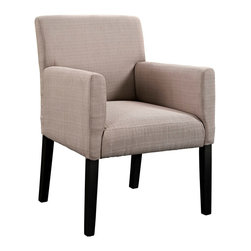Chloe Wood Armchair - The ubitquitous design of the Chloe armchair, provides the perfect accent piece for a variety of settings. Chloe is an ideal accessory for those who love to shift their belongings and change up the room. The comfortable fabric armchair with four dark wooden legs can be utilized as in casual dining, office waiting room, or a subtle highlight in the living room. Chloe's engagingly neutral style will prove worthy again and again.