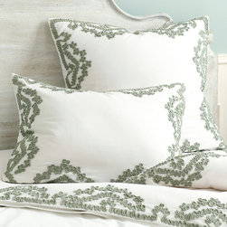 Ballard Designs - Lexington Applique Duvet - Coordinates with our Lexington AppliquSham. Knife-edge. Button closure (CHECK THIS). Machine wash. Our Lexington AppliquDuvet brings the romantic look of lace back in a fresh, updated way. Soft aqua cotton fabric is artfully stitched into lacy loops, creating a pretty vine frame around a white cotton ground.Lexington AppliquDuvet features:. . . .