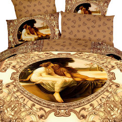 Dolce Mela - Duvet Cover Set Luxury Modern Floral Bedding Dolce Mela DM422, Queen - Decorate your bedroom with this classy bedding ensemble featuring a print of a romantic oil painting surrounded by abstract royal art patters.