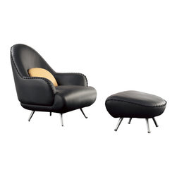 Zuri Furniture - Vitali Black Leather Chair - Get ready for the show stopper! Vitali will add instant style to your space, with it's unique black stitching and color options, the possibilities are endless.