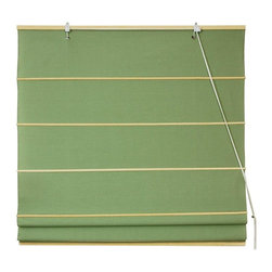 Oriental Furniture - Cotton Roman Shades - Light Green - (48 in. x 72 in.) - These Light Green colored Roman Shades combine the beauty of fabric with the ease and practicality of traditional blinds. They are made of 100% cotton.