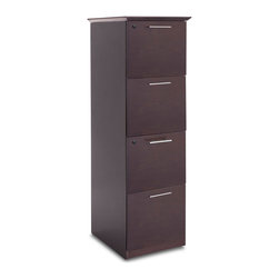 Zuri Furniture - Taft Vertical 4-Drawer Walnut Filing Cabinet - This tall filing cabinet will replace those ugly metal things you hate. Upgrade to the Taft filing cabinet and your office staff will thank you.