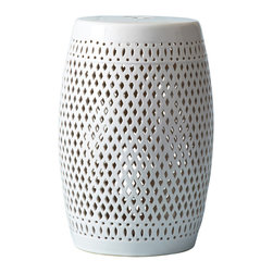 Seville White Garden Stool - Indoors or out, a classically designed, multi-functional design piece for use as a side table or as spare seating in the garden. Diamond patterned cut outs dazzle as the lack of color makes the Seville Garden Stool the perfect transitional piece for any space.