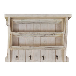 Enchante Accessories Inc - Distressed Wood Drying Rack With Shelves & Hooks (Distressed White) - This distressed wood Drying rack features beautifully aged wooden shelves with 4 hooks for coats / Hats etc.