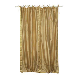 Indian Selections - Pair of Golden Tie Top Sheer Sari Curtains, 43 X 84 In. - Size of each curtain: 43 Inches wide X 84 Inches drop