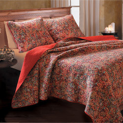 None - Persian Multicolored Cotton 3-piece Quilt Set - Add a burst of botanical-inspired color to your bedroom decor with this adventurous quilt set,reversing to a solid Rococco red. Decorated with fern branches and lotus blossoms,this eye-catching cotton quilt is fully machine washable.