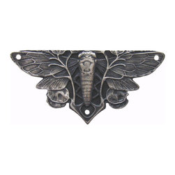 "Notting Hill - Notting Hill Cicada on Leaves Hinge Plate - Antique Pewter - Notting Hill Decorative Hardware creates distinctive, high-end decorative cabinet hardware. Our cabinet knobs and handles are hand-cast of solid fine pewter and bronze with a variety of finishes. Notting Hill's decorative kitchen hardware features classic designs with exceptional detail and craftsmanship. Our collections offer decorative knobs, pulls, bin pulls, hinge plates, cabinet backplates, and appliance pulls. Dimensions:  1-1/4"" w x 2-5/8"" h"