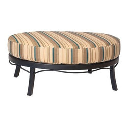 Woodard Aluminum Ramsgate Ottoman - You haven't discovered full outdoor relaxation until you've put your feet up on the Woodard Aluminum Ramsgate Ottoman. Constructed of extruded aluminum, this ottoman is available in a wide assortment of powder coated finishes. A thick cushion tops it off and adds luxurious comfort. Choose from available fabrics for the upholstery.Important Notice:This item is custom-made to order, which means production begins immediately upon receipt of each order. Because of this, cancellations must be made via telephone to 1-800-351-5699 within 24 hours of order placement. Emails are not currently acceptable forms of cancellation. Thank you for your consideration in this matter.Woodard: Hand-crafted to Withstand the Test of TimeFor over 140 years, Woodard craftsmen have designed and manufactured products loyal to the timeless art of quality furniture construction. Using the age-old art of hand-forming and the latest in high-tech manufacturing, Woodard remains committed to creating products that will provide years of enjoyment.Superior Materials for Lasting DurabilityIn the Aluminum Collections, Woodard's trademark for excellence begins with a core of seamless, virgin aluminum: the heaviest, purest, and strongest available. The wall thickness of Woodard frames surpasses the industry's most rigid standards. Cast aluminum furniture is constructed using only the highest grade aluminum ingots, which are the purest and most resilient aluminum alloys available. These alloys strengthen the furniture and simultaneously render it malleable. The end result is a fusion of durability and beauty that places Woodard Aluminum furniture in a league of its own.Fabric, Finish, and Strap FeaturesAll fabric, finish, and straps are manufactured and applied with the legendary Woodard standard of excellence. Each collection offers a variety of frame finishes that seal in quality while providing color choices to suit any taste. Current finishing processes are monitored