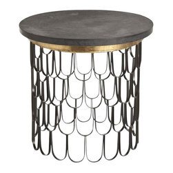 Arteriors - Orleans End Table - The materials and detailing on this end table are superb. Topped with a weighty circle of matte black marble, the base looks airy in iron bands welded in a fish scale pattern. And with the shimmery band of gold, it all adds up to true love in your room.