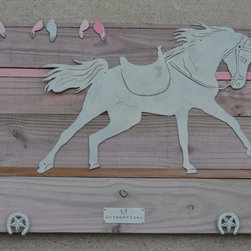 Farm Horse (pinter steel) on pink wash wood frame - Made out of painted steel, mounted on a painted reclaimed wood frame. Each piece is unique and will slightly vary from the picture depending on the wood's look.