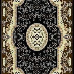 Rug Factory - Mayan Collection Style 396 Black 5' x 8' Size Area Rug - Mayan collection style 396 black 5' x 8' size area rug. Persian, Egyptian and classical themed , made with 100% Polypropylene.