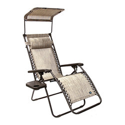 Bliss Hammocks - 31'' Platinum Gravity-Free Lounger - Refresh your patio or porch with this handsome lounger that offers a reclining and a folding feature, a durable canopy for shade from the sun, an ergonomic design that offers supportive comfort and a sturdy steel frame for a long-lasting outdoor seating option.   Weight capacity: 300 lbs. 31'' W x 70'' H x 52'' D Steel / vinyl / polyester Imported