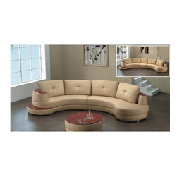 American Eagle Furniture - 8090 Beige Bonded Leather Sectional Sofa With Mahogany Wood Accents - The 8090 sectional sofa has a stylish modern design that will be a great addition for any living room setting. This sofa comes upholstered in a stunning honey colored bonded leather on the front where your body touches. Carefully chosen match material is used on the back and sides where contact is minimal. High density foam is placed within the sectional for added comfort. The sectional features wood trim with a mahogany finish that runs along the back of the sofa and is also featured at the end of the sofa. The coffee table shown is NOT included.
