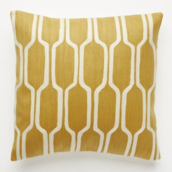 Honeycomb Crewel Pillow Cover, Golden Gate - Opt for muted primary colors to bounce life around the room. I like that this one's mustard yellow has a little retro edge to it.
