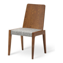 Bryght - 2 x Cole Coral Fabric Upholstered Cocoa Dining Chair - The Cole dining chair boasts a sleek modern design that adds understated elegance to your dining room.With its balanced clean-line proportions and whole piece curved back rest, the Cole dining chair lends an air of sophistication to your fine dining needs. Its delicately crafted N-shaped legs are pleasing to the eyes, while its extra padded flat seat assures a long comfortable sit.