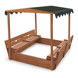Badger Basket - Covered Convertible Cedar Sandbox with Canopy and Two Bench Seats - Our unique sandboxes are sure to become a favorite hangout for the neighborhood kids! It features two comfortable benches and measures approximately 46.5 in. L x 46.5 in. W x 9.5 in. H overall so there's plenty of room for several kids to dig, build, and explore together. But wait, there's more! The benches fold flat to cover and protect the sand when play time is done! Made with treated, stained cedar wood and stainless hardware. Hand grips make it easy to fold and unfold. Bottomless construction helps with drainage and allows you to adjust sand depth. Holds approximately 750 lbs of sand when filled 6 in. deep. Sand not included.