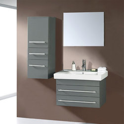 Virtu - Virtu USA Antonio 27.6-in. Wall Mount Grey Single Bathroom Vanity Set UM-3081 Mu - Shop for Bathroom from Hayneedle.com! Create a unique industrial look in your bathroom with the Virtu Antonio Single Sink Grey Wall Mount Vanity Complete Set. A striking gun metal gray finish highlighted by chrome metal and a thick white ceramic countertop give this set an edgy appeal ideal for modern bathrooms. Everything you need is included.The main vanity cabinet of this set is constructed of solid oak using traditional framing techniques for stability. It's finished in two coats and topped with a moisture-resistant clear coat to seal out humidity and prevent warping. The cabinet is fitted with two full-length drawers complete with chrome metal handles. Open the drawers to reveal spacious storage for everyday necessities. If you need even more space don't worry: it's provided with the included wall unit which matches the vanity and consists of two more drawers and a large shelved cabinet. This set also features a white ceramic countertop fitted with a basin-style sink plus a vertical chrome-finished metal faucet pop-up drain and matching rectangular wall mirror. All mounting hardware is included.Detailed Dimensions:Main cabinet/ drawer: 27.6W x 17D x 16.6H inchesWall cabinet: 14.5W x 12.5D x 39.6H inchesMirror: 29.5W x 0.2D x 22H inchesSink basin: 29.5W x 18D x 7H inches