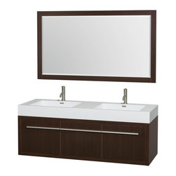 Wyndham Collection - 60 in. Double Bathroom Vanity in Espresso, Acrylic, Resin Countertop, Integrated - The bold ultra-modern and visually stunning design of the Axa wall-hung vanity makes a powerful statement while incorporating generous counter space and storage for bath items. The one of a kind styling ensures a high-end look at a very reasonable price and brings an element of contemporary sophistication to a fabulous bathroom remodel. Satin Chrome accents finish the look - it's quite remarkable, and all the more so in person.