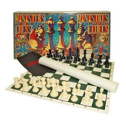 Trademark Global - Ministers Standard Chess Set w a Twist - Includes:. Ministers Chess cloth bag: 12 in. L x 7 in. W. 9 x 9 Ministers Chess pattern on one side. 8 x 8 conventional chess pattern on the other. Rigid folding board (19.5 x 19.5). Additional vinyl roll-up 9 x 9 Ministers Chess board (19.5 x 19.5). Tournament sized chess pieces (King: 3.75 in.; Pawn 2 in.)Ministers Chess is a symmetric chess that employs a 9 in. L x 9 in. W board and 36 chess pieces. Each player has 1 King, 2 Ministers (Queens), 2 Bishops, 2 Knights, 2 Rooks and 9 Pawns. The 2 Ministers flank the king, eliminating its conventional chess bishop-side weakness. Ministers is a larger, dynamic, fascinating and more open game. In Ministers due to the larger 81-squares board, 17 squares more than the conventional chess 64-squares board, the range of attack of the pieces is increased and more elaborate maneuvers can be executed where an army can even encircle the other.