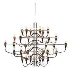 Nuevo Living - Medusa Pendant Lamp, Small - Forget dripping crystals and overdone gold leaf — this fixture sheds new light on the whole concept of the chandelier. With a chrome-finished steel frame and bulbs ingeniously attached to adjustable cable arms, it makes a fascinating ceiling centerpiece for your favorite modern setting.