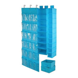 Honey Can DO - Closet Organizing Set - Blue, 4-Piece - The perfect closet organizing starter kit. Our blue 4-piece closet organizing set includes one 6-shelf hanging organizer, one 20-pocket shoe organizer, one 10-shelf hanging organizer and one under bed storage bag. Warning: Your closet is about to get organized.