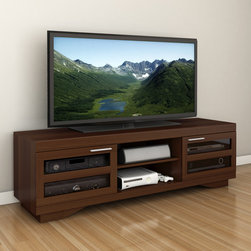 Sonax - Sonax Granville Warm Cinnamon Wood Veneer 66-inch TV Bench - Add a contemporary touch to your living room or den with this extra-wide TV bench. This unit has a cinnamon-stained wood veneer that will add warmth to your decor,and the shelves are adjustable,allowing you fit all your items with ease.