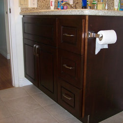 Jane's O'Neil Chocolate Vanity - O'Neil Cabinets Chocolate door style cabinetry.