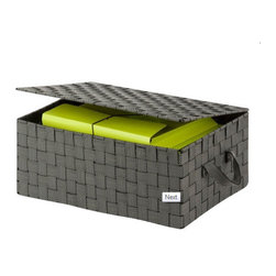 Honey Can DO - Hinged Lidded Storage Box, Salt & Pepper - Clear the clutter with our black/white hinged-lid storage box in contemporary woven strapping. This storage solution provides ample space for stashing odds and ends. The durable woven strapping will stand the test of time and add a unique look to your home or office.