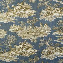 Dog toile fabric retriever pheasant blue - A retriever fabric. A bird dog pheasant fall blue toile fabric. If you need a lodge fabric or cabin fabric this is perfect!