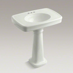 """KOHLER - KOHLER Bancroft(R)  30"""" pedestal bathroom sink with 4"""" centerset faucet holes - Inspired by early-1900s American design, Bancroft embodies traditional elegance. The subtle lines and refined curves of this 30-inch pedestal sink create a look with nostalgic appeal."""