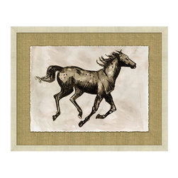 Frontgate - Sepia Horse Study II - Reproduction of an original pen and ink drawing. Horse study is floated on a hand-wrapped brown linen mat. Drawing is finished with a deckled edge. Etched champagne frame. Arrives ready to hang. An expression of strength and vitality, our Sepia Horse Study 3 captures a graceful horse in motion. A classic study in form, this piece is perfect for someone passionate about horses or an equestrian. The finish and frame are delightfully neutral, making this versatile work of art a welcome addition to a variety of spaces, such as a sitting room, entryway, or library.. . . . .