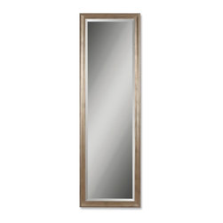Uttermost - Petite Hekman Tall Slender Wall Mirror - This solid wood frame features a antique, champagne silver leaf finish with black undercoat.
