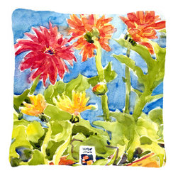 Caroline's Treasures - Flower - Gerber Daisies Fabric Decorative Pillow - Indoor or Outdoor pillow made of a heavy weight canvas.  Has the feel of Sunbrella fabric.  14 inch x 14 inch 100% Polyester Fabric pillow Sham with pillow form. This pillow is made from our new canvas type fabric can be used Indoor or outdoor.  Fade resistant, stain resistant and Machine washable.