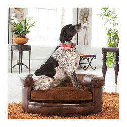 Frontgate - Lucky Pet Bed Dog Bed - Durable, plush faux leather. Tufted, reversible russet cushion. Sturdy hardwood frame. Wipe with a dry, soft cloth to clean. Supports up to 300 lbs.. Our Lucky Pet Bed is a remarkably refined and impressively constructed piece of pet furniture. At home in a living room, study or home office, you'll constantly be relocating guests when they unknowingly plop down on this sophisticated pet seat.  .  .  .  . . Arrives assembled .