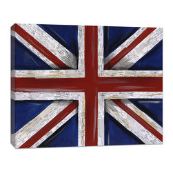 "Doodlefish - Union Jack  Flag - The Doodlefish Union Jack England flag stretched canvas is a unique artwork collage by Regina Nouvel.  Look closely and you will see that the white stripes are built out of road maps of England.  The artwork is reproduced as a high quality canvas print (Giclee) that is wrapped around the edges of wooden stretcher bars making it ready to hang. The finished size is 24"" wide x  20"" tall."