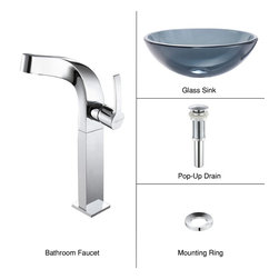 Kraus - Kraus C-GV-104-12mm-15100CH Clear Black Glass Vessel Sink and Typhon Faucet - Add a touch of elegance to your bathroom with a glass sink combo from Kraus