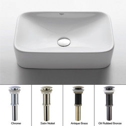 """Kraus - Kraus KCV-122-CH Chrome White Ceramic 19"""" Ceramic Vessel Bathroom Sink - Product Features:Fully covered under Kraus  limited lifetime warrantyConstructed of the finest grade vitreous chinaNon-porous glossy, baked on finish is highly durable and scratch resistantHandmade by skilled artisansAdd an elegant touch to your bathroom with a Kraus ceramic wash basinThis bathroom sink will enhance any home improvement remodelDesigned for above-the-counter installationIncludes pop-up drainStandard 1-3/4"""" drain opening - designed to easily connect to waste lines, including P-trapsExtra secure mounting assemblyAll necessary mounting hardware includedProduct Technologies and Benefits:The Vessel Advantage: Beyond uniqueness and their distinctive modern design, vessel sinks also present a couple of functional advantages. Because the sink is raised off the countertop, overall bathroom clutter presents less of an issue as items are merely level with or below the sink rim, not towering over it and in the way of your arms. Furthermore, bowl-shaped vessel sinks actually free up countertop space directly under the sink rim. Lastly, vessel sinks are much better at containing splashes, making face and hand washing less messy.Handcrafted Quality: Kraus vessel sinks are handcrafted in a very labor-intensive process. Starting with only the finest materials, artisans work each sink through its various production stages, with complete control over the entire process. By using hands to get the work done, each Kraus vessel sink is a functional work of art that has seen great care and thought put into its creation. The end result is a flawless sink that shows its attention to details.Heavily Certified: Kraus has gone to great lengths to be able to provide you, the homeowner, the rest-easy satisfaction knowing that your sink is certified and"""