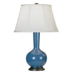 Robert Abbey - Devon Table Lamp - Curvy and classic, this table lamp makes a lovely way to illuminate your favorite setting. Its fluted white shade sits atop a rounded ceramic body in basic white, black or your choice of rich colors for a simply elegant, contemporary look.