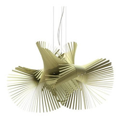 LZF - Mini Mikado Pendant by LZF - The LZF Mini Mikado Pendant is composed of two die-cut sheets of wood veneer, mounted in a pattern that lends torsion and dynamism. Like entwined feathers, the stamped strips create a pliable shape in the air that is charged with sensuality, creating an overall airiness and interesting plays of light and shadow. The Mini Mikado Pendant features a Natural timber wood veneer shade in a variey of colors and Nickel canopy. LZF Lighting from Spain, offers contemporary, designer lighting for residential and commercial interiors. Initially specializing in lighting crafted from wood veneers, LZF has expanded its product line to include other materials well-suited to contemporary styles.